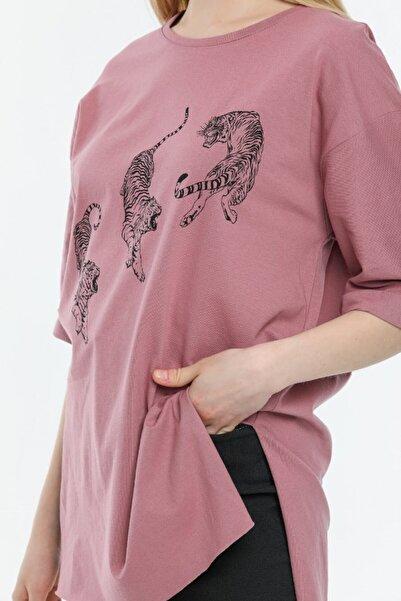 KUPON TEKSTİL 3 Kaplan Baskılı Basic Salaş T-shirt