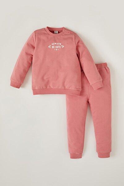 DeFacto Kız Bebek Yazı Baskılı Sweatshirt Ve Eşofman Altı