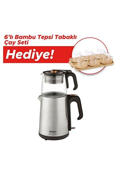 Arzum Ar3024 Çaycı Heptaze Cam Demlikli Çay Makinesi