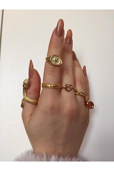 Ophelia Aksesuar Vintage 6'lı Gold Yüzük Seti