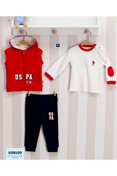 U.S. Polo Assn. Kids U.s. Polo Assn Lisanslı Bebek 3'lü Uzun Kol Takım Kırmızı Usb100