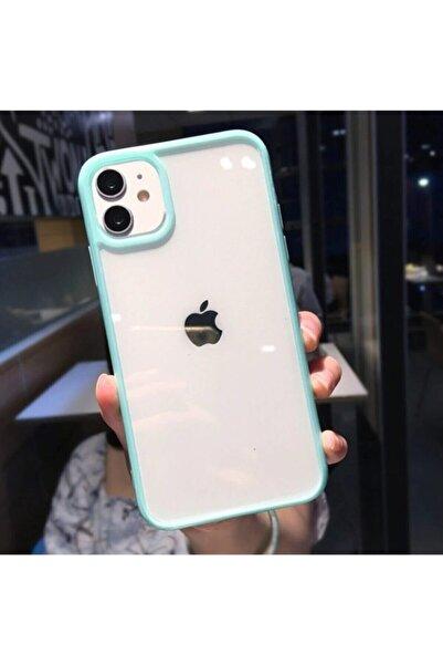 Go Aksesuar Iphone 11 Uyumlu Kenarı Turkuaz Renkli Darbe Önleyici Şeffaf Silikon Kılıf