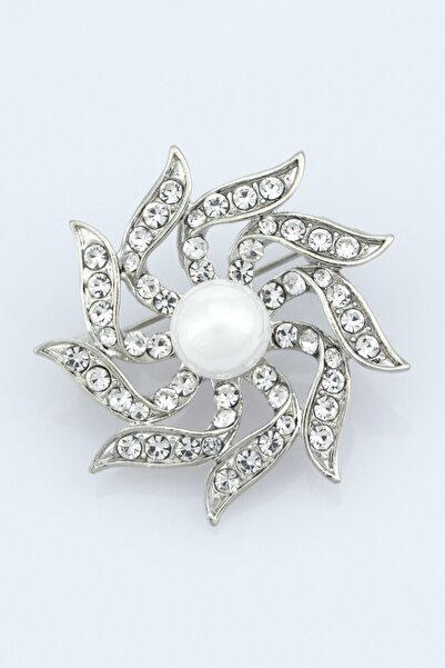 Ervalina Inci Detaylı Broş Gümüş Rengi 002