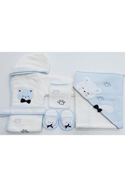 Gaye Bebe Erkek Bebek Mavi Kedicikli Bornoz Havlu Seti