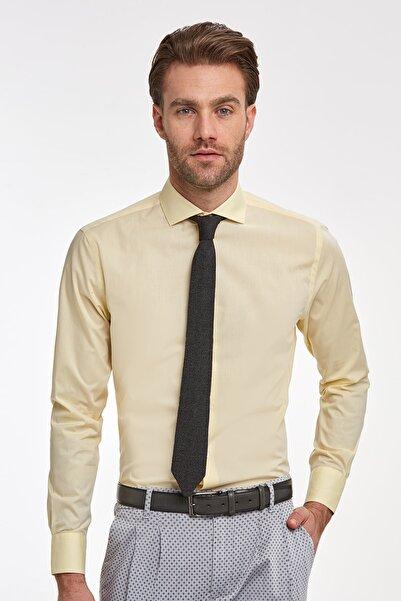 Hemington Erkek Sarı İtalyan Yaka Pamuklu Gömlek