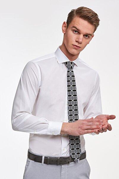 Hemington Erkek Beyaz İtalyan Yaka Pamuklu Gömlek
