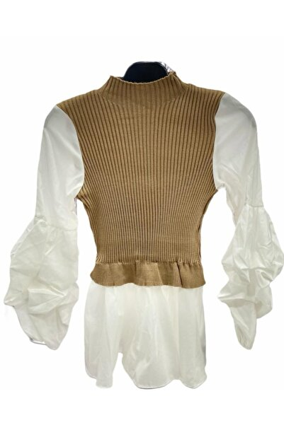 GİZEM BUTİK Balıkçıl Yaka Gömlek Detay Bluz