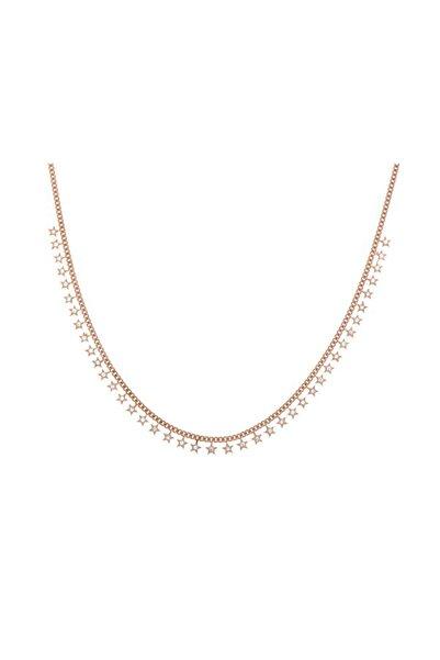 Luna Argento Jewelry Kalın Zincir Zirkon Taşlı Yıldız Gümüş Kolye