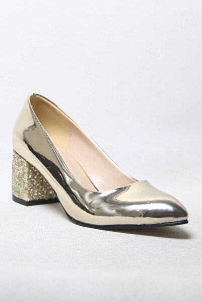 She Shoes Kısa Ve Sim Topuklu Stiletto Gold Rugan