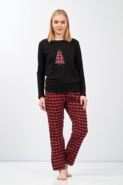 Moda Clubu Moda Clucu Yeni Yıl Pijama Takımı Ekose Kırmızı Kadın