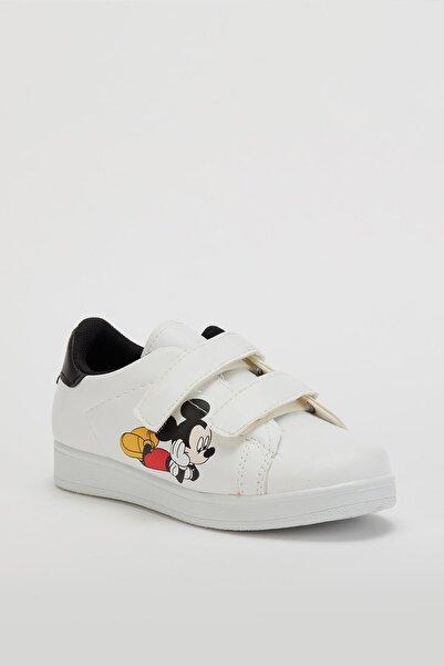 MUGGO Unisex Çocuk Beyaz Cırtlı Ayakkabı