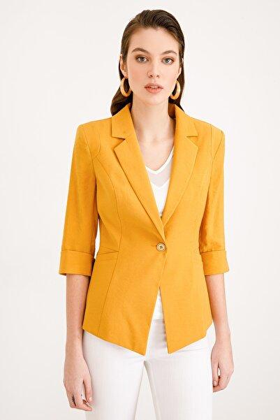 Ekol Kadın Sarı Tek Düğme Ceket