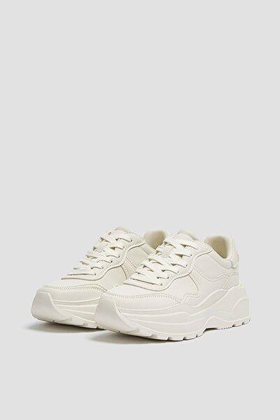 Pull & Bear Kadın Beyaz Kalın Tabanlı Spor Ayakkabı 11216740
