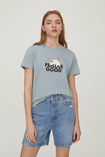 Pull & Bear Kadın Canlı Turkuaz Kedi Görselli T-Shirt 09247369
