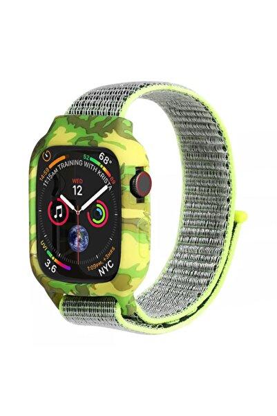 Microsonic Apple Watch Series 5 40 mm Uyumlu Sarı Gri Kamuflaj Desenli Kordon