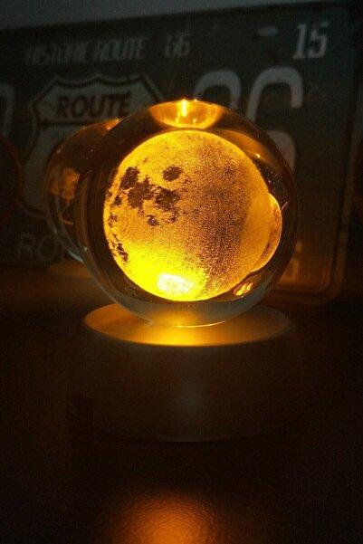 Patladı Gitti Dolunay Ay Gezegen Işıklı Cam Küre Işıklı Kristal Top 6 cm