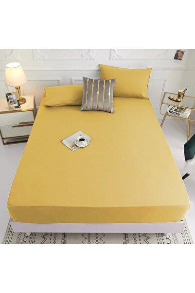 Evime Alsam Lastikli Çarşaf Takımı Pamuklu Ranforce Kumaş Sarı Renk