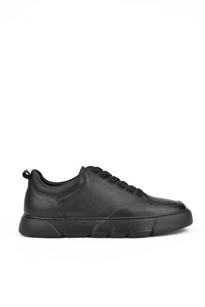 Ziya , Erkek Hakiki Deri Sneaker 111415 686196 Siyah-siyah