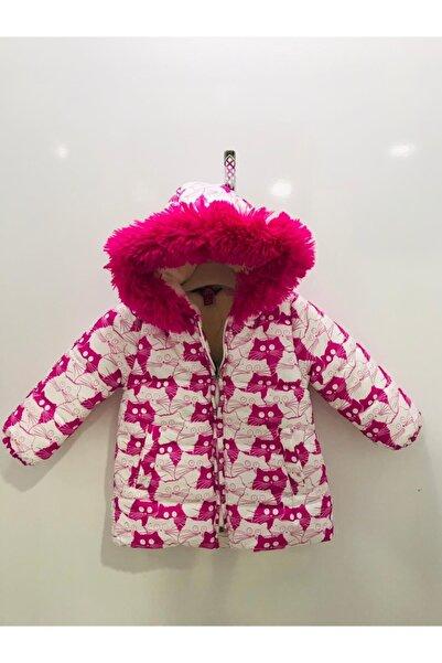 Midimod Kız Çocuk Pembe Renkli Kedi Baskılı Mont M20832