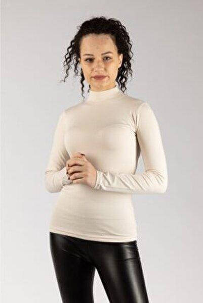 Kadın Bej Uzun Kollu Likralı Penye Body