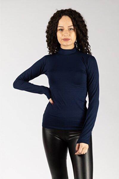NACAR STORE Kadın Lacivert Uzun Kollu Likralı Penye Body