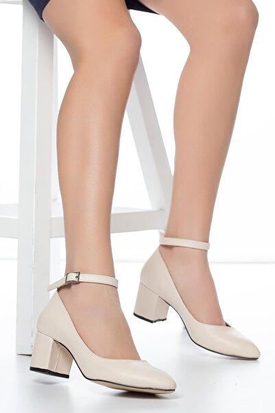 MUGGO Krem Kadın Klasik Topuklu Ayakkabı DPRGZHWY704