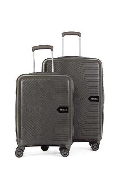 Fossil Unisex Gri Pp Kırılmaz Valiz Kabin+orta 2'li Set