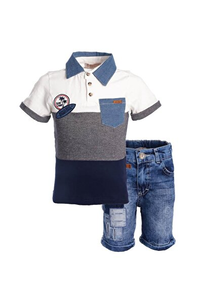 Midimod Erkek Çocuk Tişört Kot Şort 2li Takım 2-6 Yaş M18553