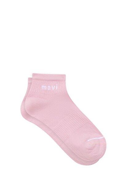 Mavi Logo Baskılı Pembe Soket Çorap 198120-33650