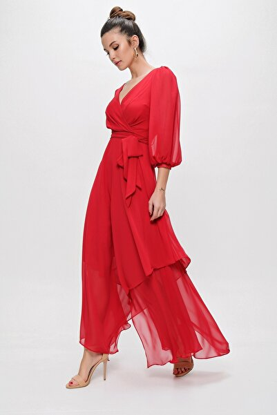 By Saygı Kadın Kırmızı Kruvaze Balon Kollu Uzun Şifon Elbise
