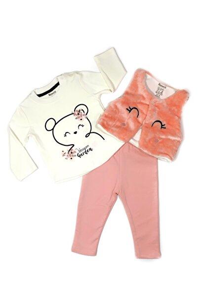 Miniworld Kız Bebek Pembe Fiyonklu Tavşan Yelekli Takım 3'lü
