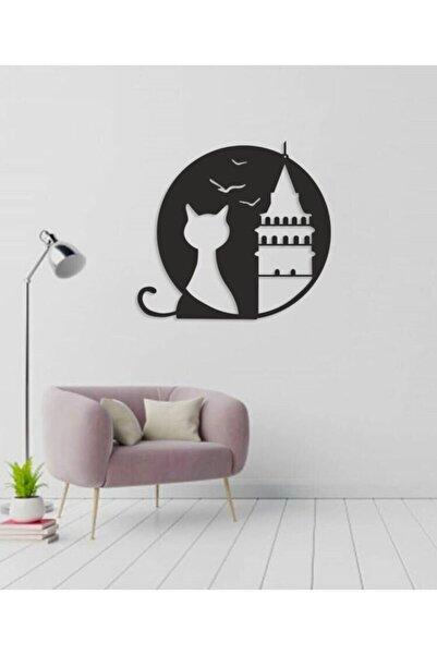 RetroLazer Galata Kulesi Kedi 3d Mdf Ahşap Tablo Evinize Ofisinize Yeni Tarz Wall Art