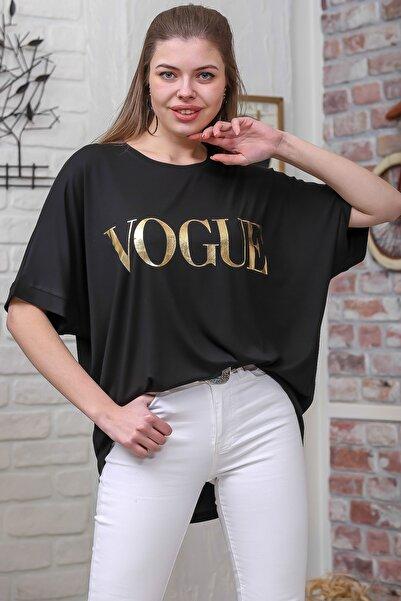 Chiccy Kadın Siyah Varak Baskılı Düşük Kol Oversize T-Shirt M10010300TS98331