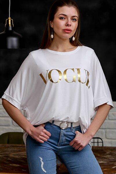 Chiccy Kadın Beyaz Varak Baskılı Düşük Kol Oversize T-Shirt M10010300TS98331