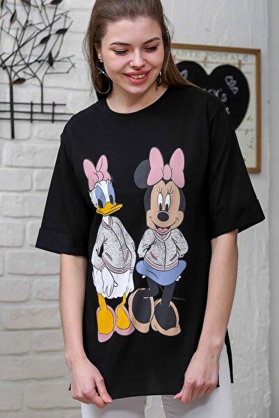 Chiccy Kadın Siyah Çizgi Karakter Ön Ve Arka Baskılı T-Shirt M10010300TS98344