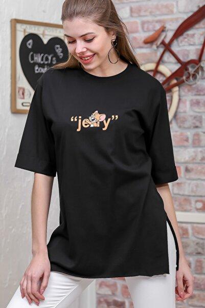Chiccy Kadın Siyah Çizgi Karakter Ön Ve Arka Baskılı T-Shirt M10010300TS98341