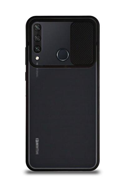 KZY İletişim Huawei Y6p Uyumlu Kapak Lensi Açılır Kapanır Kamera Korumalı Silikon Kılıf - Siyah