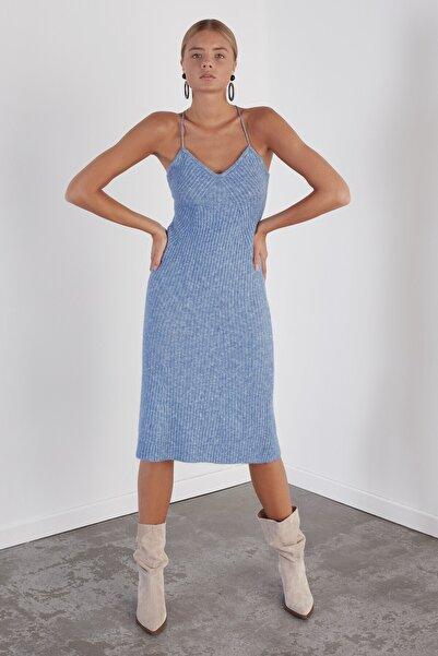 JOIN US Çapraz Askılı Triko Elbise-mavi