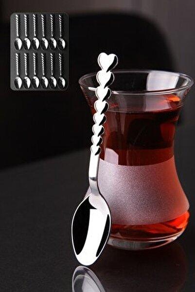12 Adet Kalpli Paslanmaz Çelik Çay Kaşık Seti