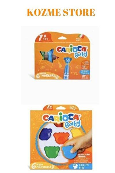CARIOCA Kozme Store - Jumbo Süper Yıkanabilir Keçeli Boya Kalemi 6lı & Baby Teddy Crayons 6lı