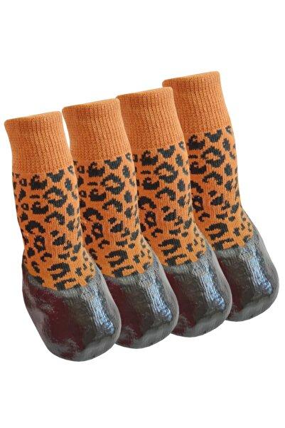 Trixie Kedi Köpek Ayakkabı Çorap Nitril Kaplı Örme Kışlık Çorap Kahverengi Leopar Desen Br21