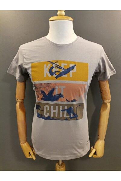 Lion Erkek Bisiklet Yaka  T-shirt 2709 Gri Baskılı
