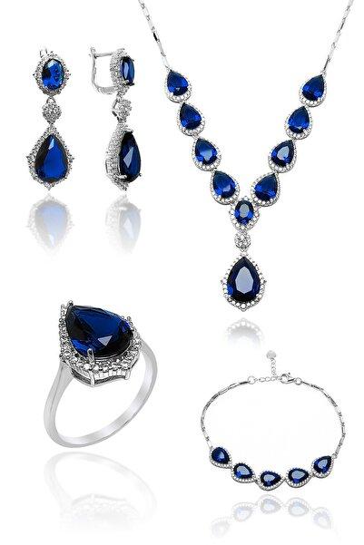 Sungurbey Gümüş Dünyası Kadın Safir Ve Zirkon Taşlı Gümüş Dörtlü Set
