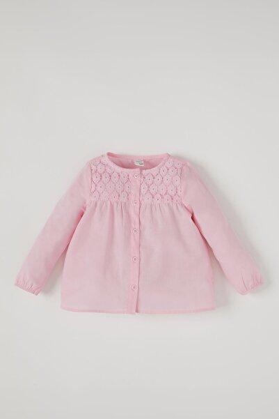 DeFacto Kız Bebek Dantel Detaylı Pamuklu Gömlek