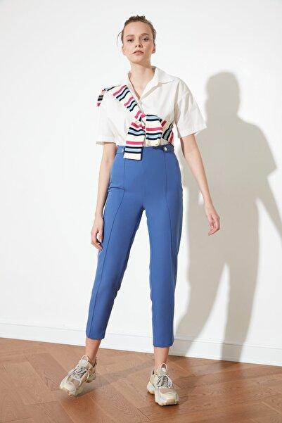 TRENDYOLMİLLA Indigo Çıtçıt Detaylı Pantolon TWOAW20PL0598
