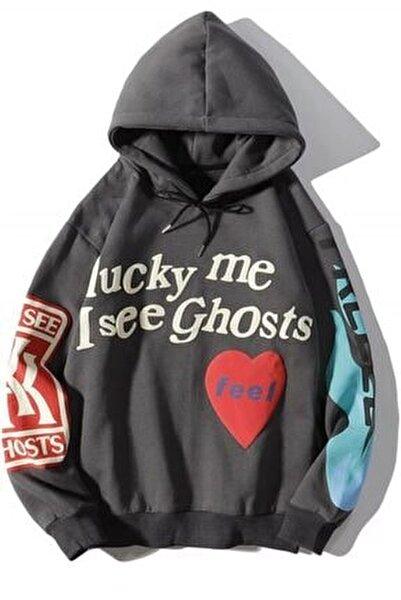 Mad Girls Antrasit Baskılı Oversize Sweatshirt Mg903