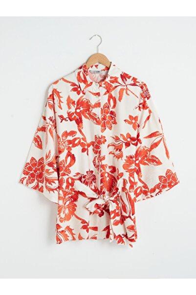 LC Waikiki Kadın Turuncu Baskılı Gömlek