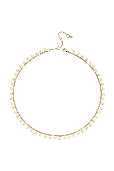 Luzdemia Kadın Çelik 14k Mikron Altın Kaplama Yıldız Zincir Kolye (star Chain Neck - Gold - 40+5 cm)