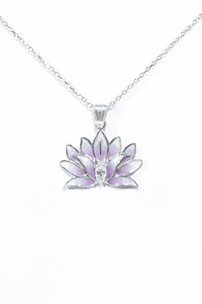 Od Takı Sanatı Özel Tasarım Lila Lotus Çiçeği Kolye -925 Ayar Gümüş Rodajlı,zirkon Taşlı. Oğuz Doğanay Renkleri Ile