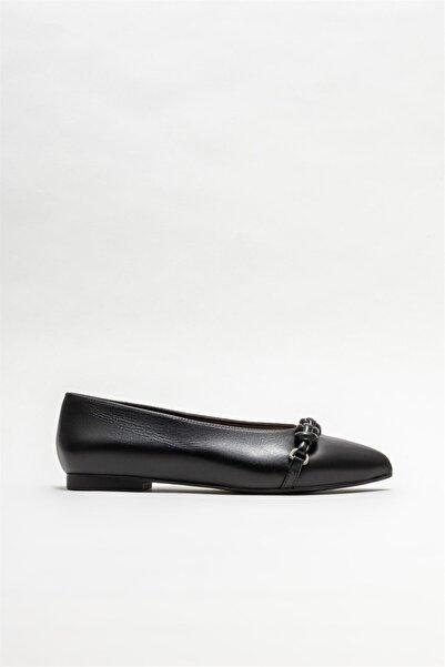 Elle Siyah Deri Kadın Loafer